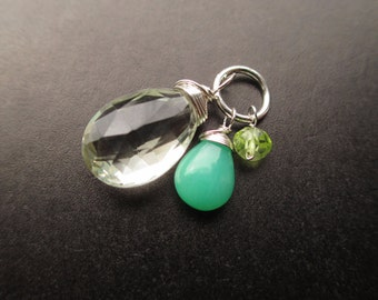 Green amethyst, chrysoprase and peridot Sterling silver wire wrapped Interchangeable bracelet charm and necklace pendant