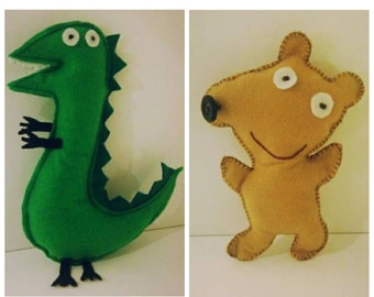Peppa Pig Themed Dinosaur and Teddy Set