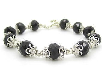 Black Crystal Bridesmaid Bracelet Black Bridesmaid Jewellery Crystal Bridal Sets Black Wedding Jewellery Black and Silver Bridal Party Gifts