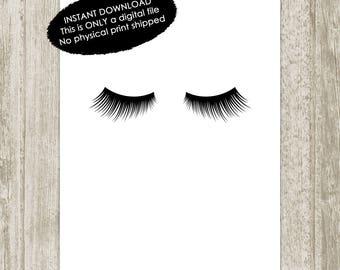 Lashes Printable, Lashes Print, Digital Eyelashes Print, Minimalist Makeup Wall Decor, Makeup Art, Digital Lashes, 5x7 8x10 Instant Download