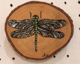 Dragonfly paint on wood