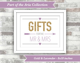 INSTANT DOWNLOAD - Aria Collection - Printable Wedding Gifts Sign - 8x10 Digital Files - Gold Glitter Lavender Lilac Purple - Mr and Mrs