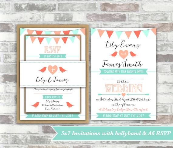 PRINTABLE Print your own personalised WEDDING invitation BUNDLE - digital files - bunting, birds, heart peach, coral, mint green - diy