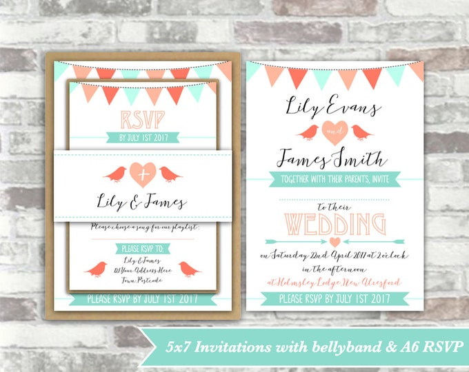 PRINTABLE Print your own personalised WEDDING invitation BUNDLE - digital files - bunting, birds, heart peach, coral, mint green - diy
