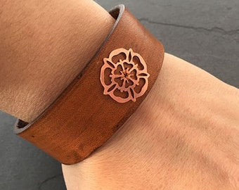 Copper Yorkshire Rose Leather Cuff