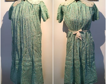 1920s Printed Cotton Seafoam Day Dress