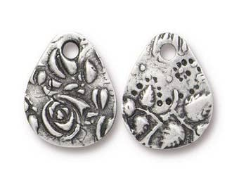 TierraCast Charms, Dulce Vida Collection, Flora Charm, Small Silver Teardrop Charm, Antiqued Pewter Charms (TC/2495-40) Qty. 4