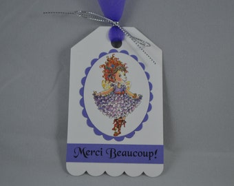 Fancy Nancy Tags (5), Thank You Tags, Merci Beaucoup Tags, Favor Tags, Birthday Thank You Tags, Personalized, Set of 5
