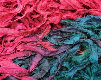 Sari Silk Ribbon,  10 Yards,   Winter Berries, ,  Fair Trade item READ Deescription