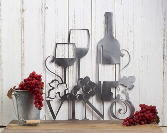 Wine Wall Decor vino metal wall art wine vino wine sign wine wall