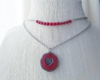 Crystal bar necklace - bar necklace - valentine jewelry - layered necklace - crystal bar pendant - valentines gift - red bar necklace