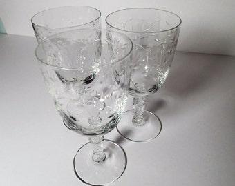 fostoria christiana crystal stemware water goblets cut glass beautiful intricate cut glass design - Water Goblets