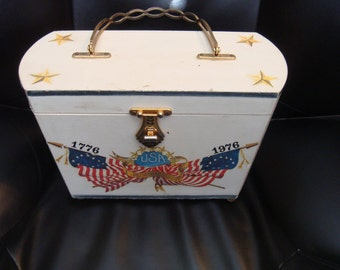 Wood Purse Patriotic Bicentennial 1976 Eagle Vintage White  Stencil USA