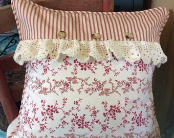 Farmhouse pillow cover, French country, shabby chic, red and cream ticking