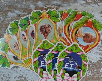 Vintage ET Christmas Ornaments - Paper Extraterrestrial 80s Movie Set of 11
