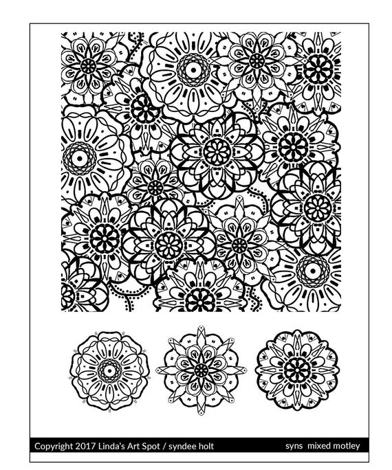 Silkscreen by Syndee Holt, syns mixed motley is a garden of floral mandala flower designs perfect for silkscreening on polymer clay