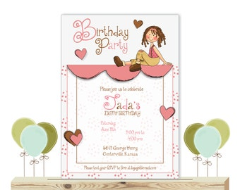 Girl's Birthday Party Invitations,  3rd, 4th, 5th, 6th, 7th, 8th, 9th, 10th, digital, printable, invite K11415
