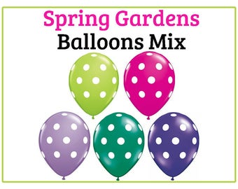 "Spring Gardens, Polka dot Print 11"" Balloons, birthday party, decorations, balloons, hot pink, green, purple, flower garden, floral"