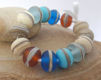DAY At THE BEACH Bead Set - Lampwork glass beads, Jewelry, Jewellery, Ivory, Sand, Amber glass, Etched Beads, Bracelet & Earring Beads