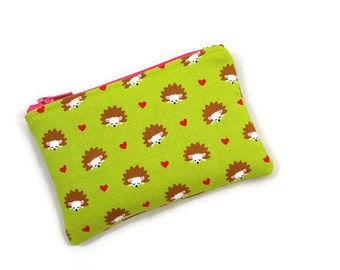 Coin Purse / Zip pouch / Change Purse / Business Card Holder / Hedgehog Print