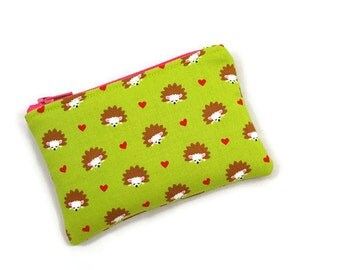 Coin Purse / Zip pouch / Change Purse / Business Card Holder / Hedgehog Print