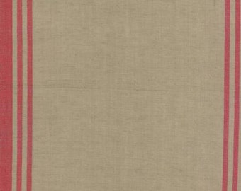 "Linen Closet Toweling 920-249 Flax Red by Moda 16"" wide"