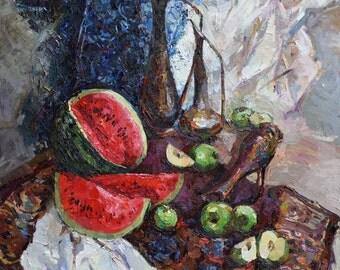 "Oriental Still Life with Watermelon 35,4"" x 35,4"" Fine art by Valiulina"