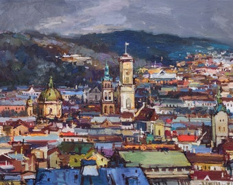 Cityscape of Lviv, Ukraine - Original oil painting, landscape painting , cityscape, ready to hang, fine art by Valiulina