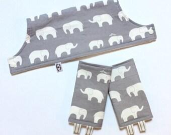 ORGANIC Elephant SuckPads and Bib SET // Organic Cotton & Bamboo Fleece // Grey Elephants