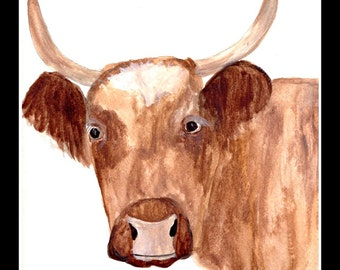 SALE Cow art Brown cow original watercolor painting Farm animal art Cow illustration Gift for farmer 9 x 12 inch