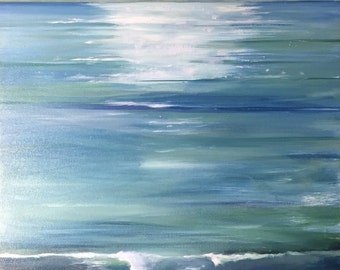 Original oil painting Ocean and Island California oil painting 'Channel Islands 1' blue green natural colors
