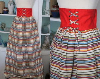 1970s Maxi Skirt / Vintage 70s Rainbow Striped Corset Bustier Waist Maxi Floor Length Long Cotton Twill Skirt / Hippie Boho Festival - S/M