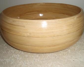 "Large Wooden Serving Bowl, Bamboo Wood Salad Bowl, Large wood fruit bowl, 12"" x 5"" wood bowl"