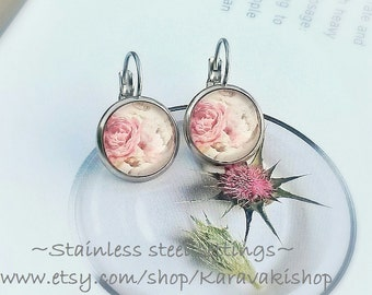 Silk Peonies peony bouquet earrings, Stainless steel peony earrings,Peony wedding,Peony jewelry,Bridesmaid gift,Soft pink romantic earrings,