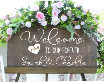 Dark Stained Welcome to our wedding sign, wedding sign, welcome name and wedding date sign