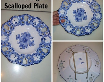 vintage made in portugal hand painted blue and white floral with scalloped u0026 pierced edges decorative