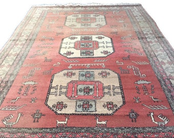 Vintage Persian Rug Area Rug Tribal Rug 9 x 12 Wool Caucasian Kazak Medallion Center Faded Pink Ombre RugBohemian Decor Animal Symbol