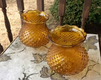2 vintage amber hobnail glass globes