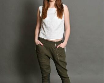 Open crotch pants   Linen summer pants   Linen trousers   Washed linen fabric   Front zipper pants   Zipper pants   Made to order   Bengi