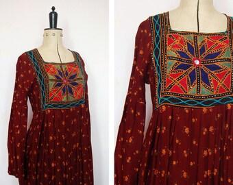 Vintage 70s Afghan Kuchi dress -  Middle Eastern Dress - Bohemian Caftan - Tribal Dress - Cross stitch - Bedouin dress - Kaftan - 70s boho