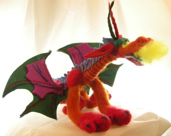 Soft sculpture dragon for a special gift. Felted dragon. Wet felted dragon. Posable interactive jewel colored and playful named Mr. Clown.