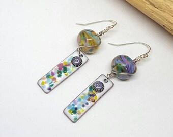 Purple Confetti Hippie Earrings - Purple Earrings - Confetti Earrings - Hippie Earrings