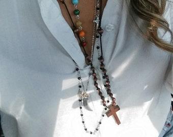 Ladies wooden Cross necklace -Rosary Cross Necklace - Necklace- Ladies Necklaces