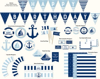 Birthday Party, Nautical, Printable, Includes Cupcake Toppers, Banner, Tags and More, Nautical 17