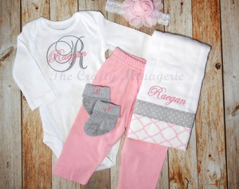 Baby Girl Coming Home Outfit, Personalized Girl Bodysuit with Hat or Headband, Personalized Bodysuit, Optional Pants, Burp Cloth or Socks