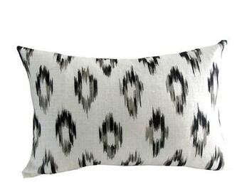 """Designer Lumbar Pillow Cover SCHUMACHER """"Kerela Ikat"""" Print Charcoal"""