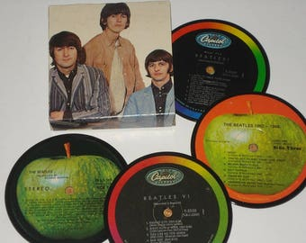 Beatles Coasters, vintage vinyl record coasters for drinks