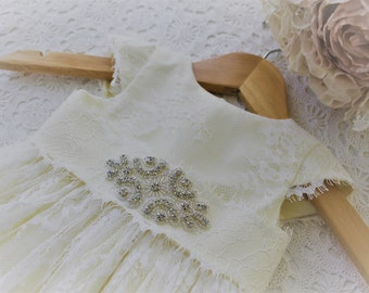 Christening Gown in ivory/beige and white lace overlay
