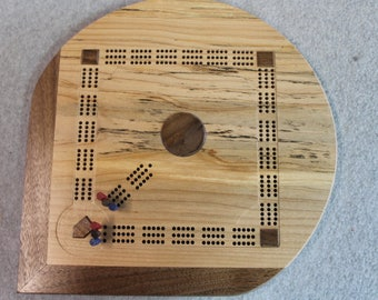 Baseball field shaped cribbage board in Spalted Maple wood