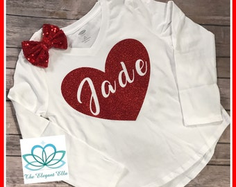 Personalized Valentine's Day shirt, girls valentine day shirt, name shirt, heart shirt, personalized Valentine's Day shirt, glitter heart